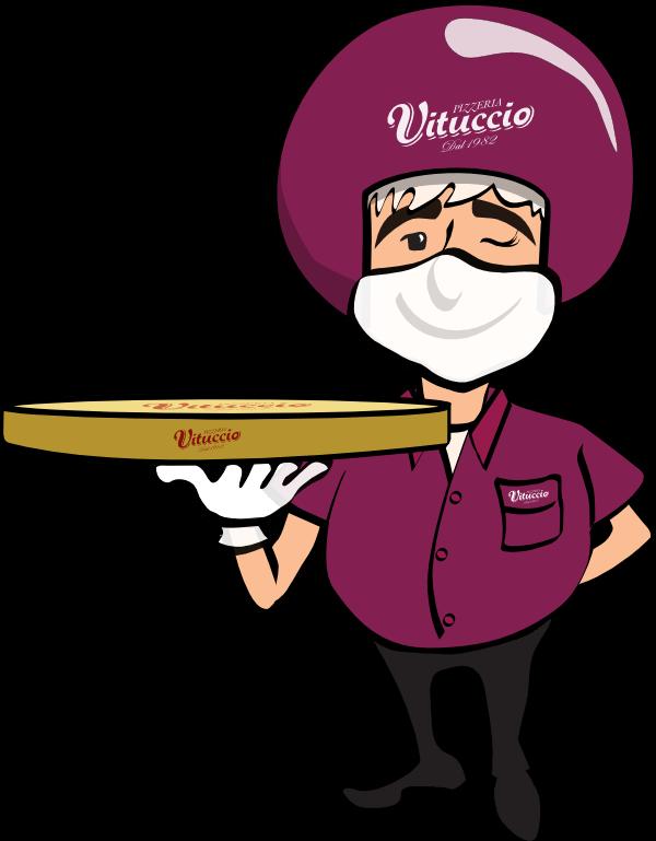 Motoboy Vituccio entregando a pizza