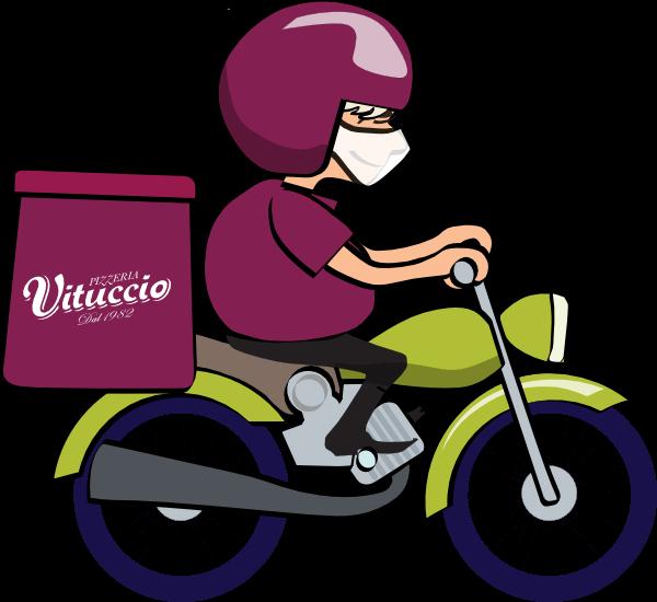Motoboy Vituccio levando a pizza